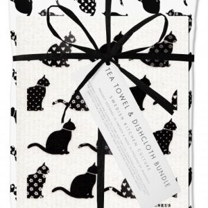 Black Cats Dishcloth and Tea Towel Gift Set