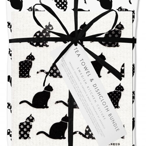 Black Cat Dishcloth and Tea Towel Gift Set
