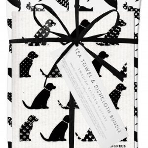 Black Dog Dishcloth and Tea Towel Gift Set