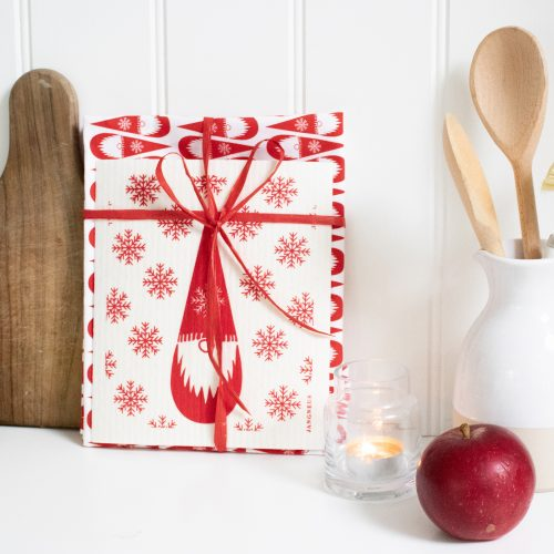 Eco Friendly Christmas Gnome Tea Towel & Dishcloth Set