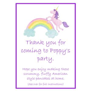 Pancake Mix Party Bags – Rainbows and Unicorn