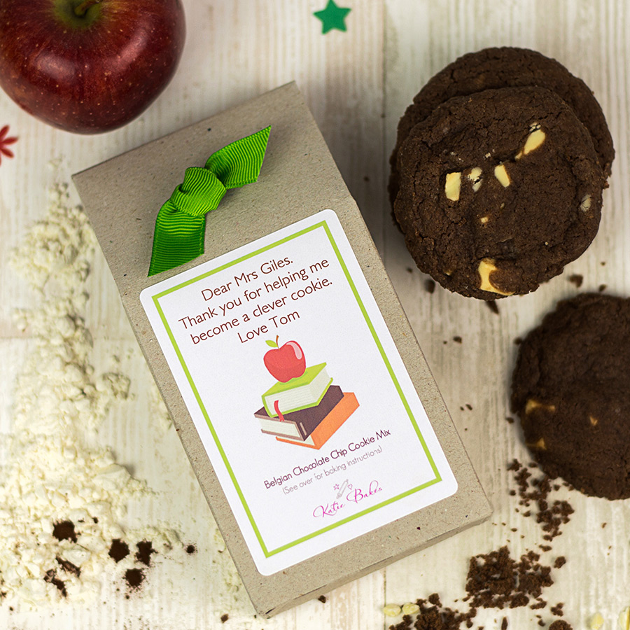 """Personalised Chocolate Chip Cookie Mix Teacher Gift – """"Apple"""""""